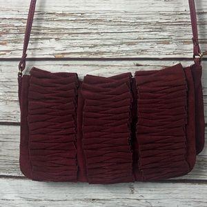 Suede Leather Burgundy Crossbody Bag